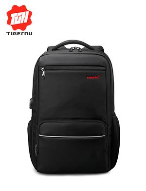 泰格奴/tigernu2017新品USB插口充电电脑背包休闲学生书包大容量