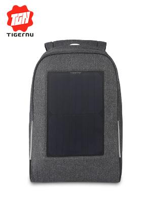 泰格奴新款太阳能防盗电脑包休闲背包户外旅行包可定制logo