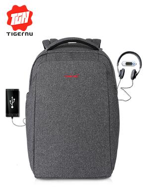泰格奴2017新款USB插口电脑包高中大学生书包休闲背包